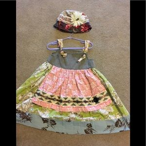 Matilda Jane Dress and Hat Sz 4 Dress Med hat